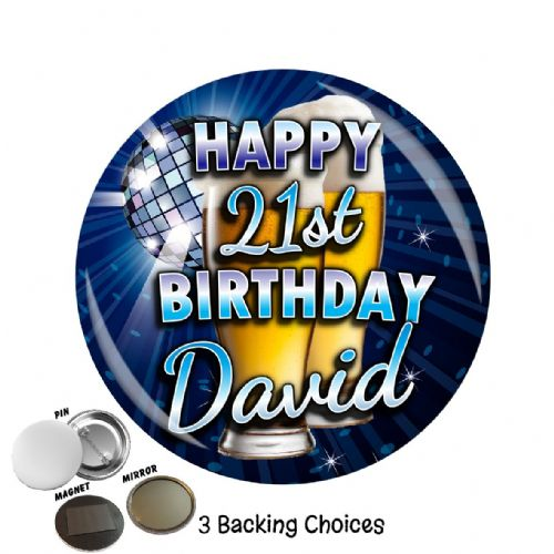 Large 75mm Lager Personalised Happy Birthday Badge N20